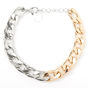 Mixed Metal Chunky Chain Link Bracelet,