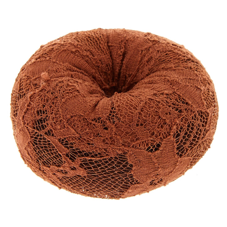 Large Lace Brown Hair Donut,