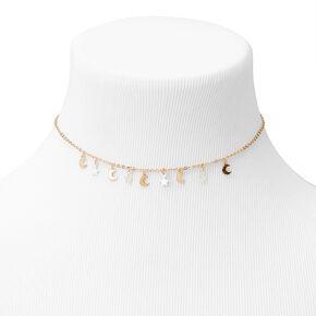 Mixed Metal Celestial Choker Necklace,