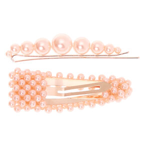 Rose Gold Pearl Hair Pin & Snap Clip - Blush Pink, 2 Pack,