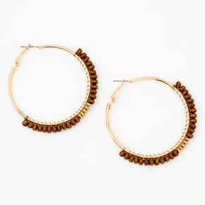 Gold 50MM Wooden Bead Hoop Earrings,