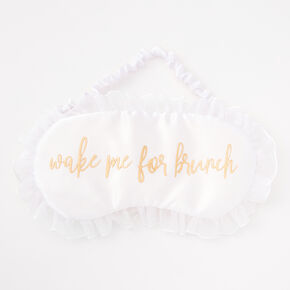 Wake Me For Brunch Ruffled Sleeping Mask - White,