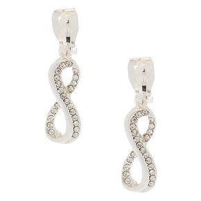"""Silver 1"""" Infinity Clip On Drop Earrings,"""