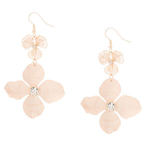 Rose Gold Blush Flower Drop Earrings,