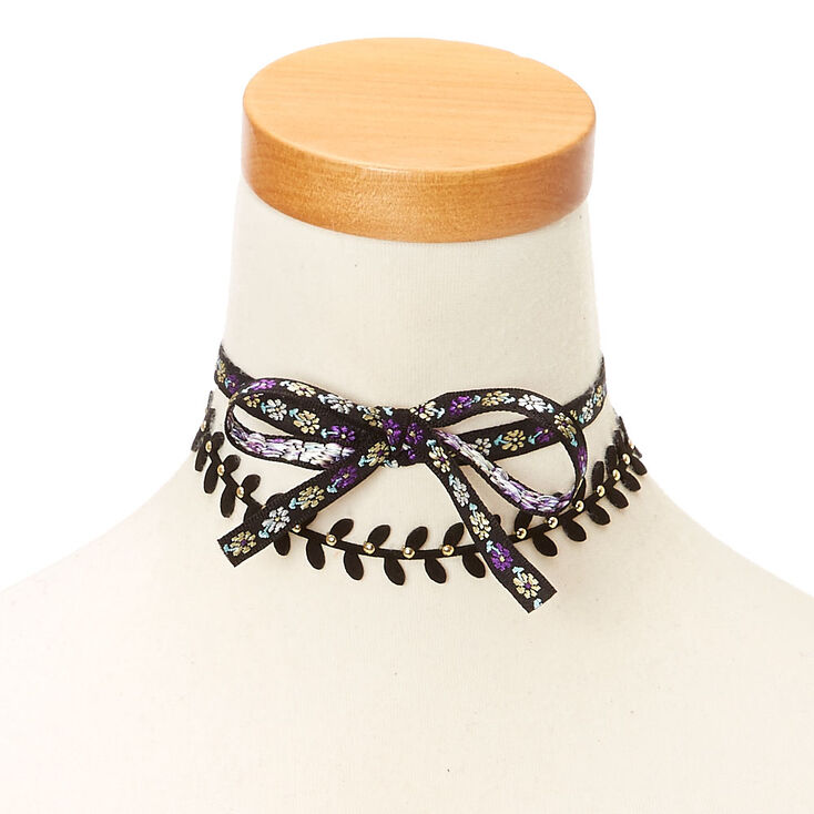 Floral Black & Purple Choker Headwrap,