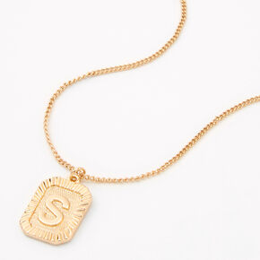Gold Initial Rectangle Medallion Pendant Necklace - S,