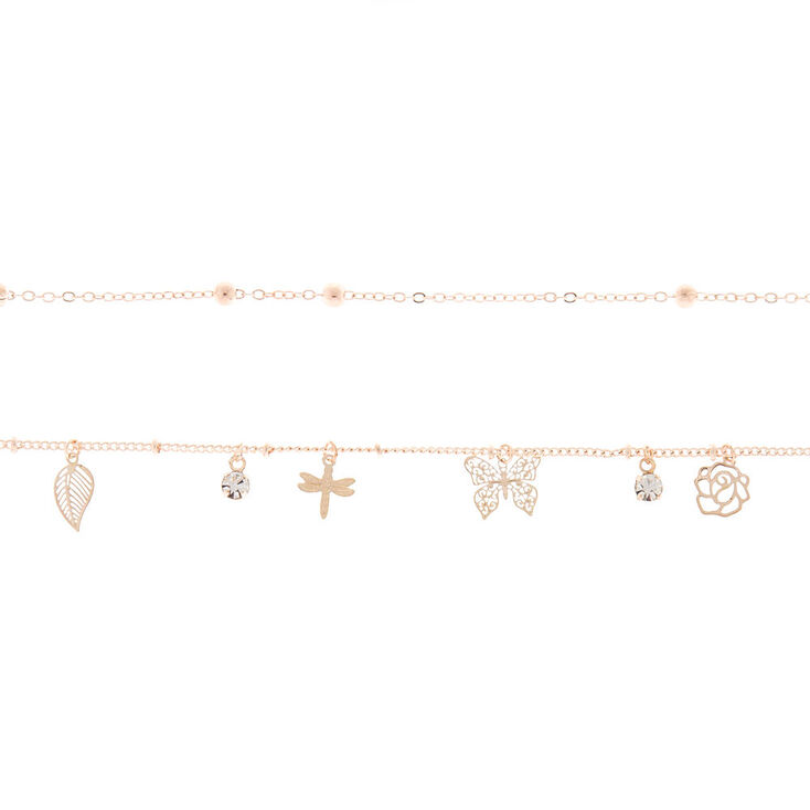 Rose Gold Butterfly Charm Choker Necklace Set - 2 Pack,