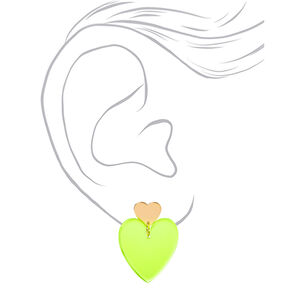 "Gold 2"" Neon Double Heart Drop Earrings - Yellow,"
