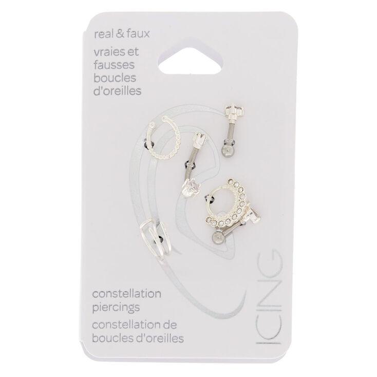 Real + Faux Silver Constellation Earrings 6 Pack,