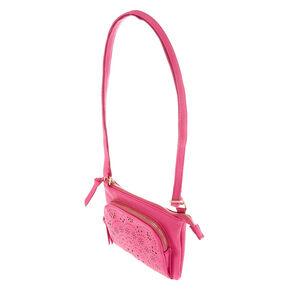 Filigree Cut Perforated Crossbody Bag - Pink,