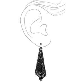 "Black 4"" Mesh Drop Earrings,"