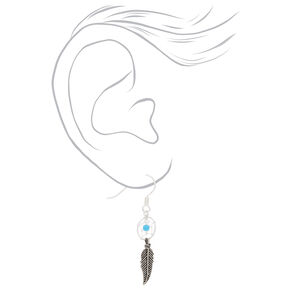 "Sterling Silver 1"" Beaded Dreamcatcher Drop Earrings - Turquoise,"