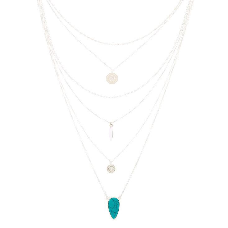 Silver Stone Coin Multi Strand Choker Necklace,