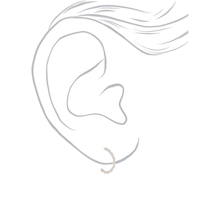 Sterling Silver 12MM Scalloped Half Hoop Earrings,