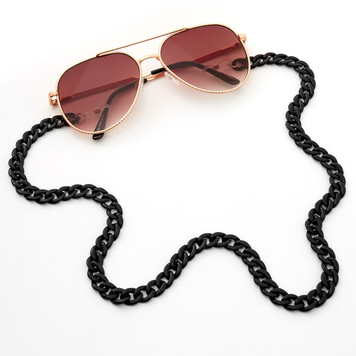 Acrylic Sunglasses Chain Link Lanyard - Black,