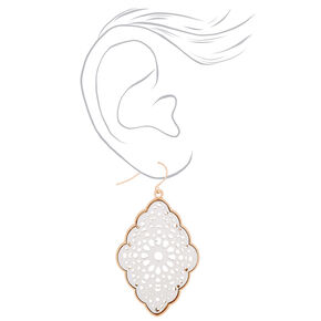 "Gold 2"" Filigree Fabric Drop Earrings - Cream,"