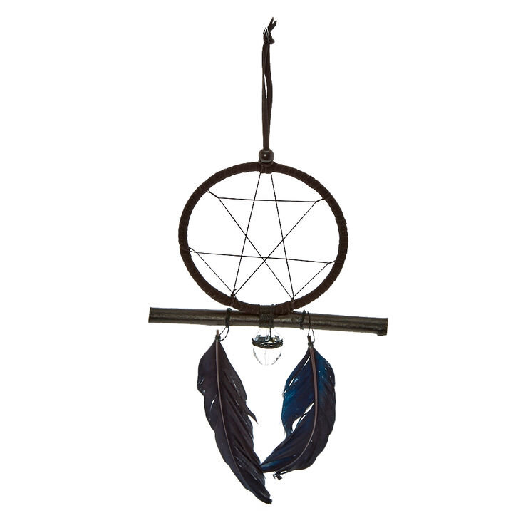 Black Feather + Crystal Dreamcatcher,