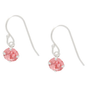 Sterling Silver Stone Drop Earrings - Pink,
