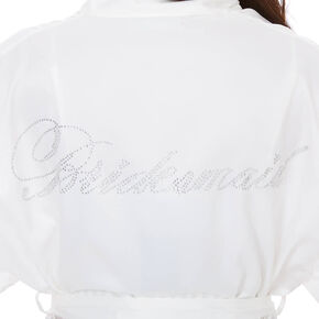 White Satin & Crystal Bridesmaid Robe,