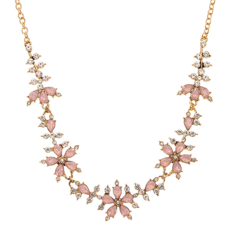 Rose-Gold Pink Floral Gem Statement Necklace,