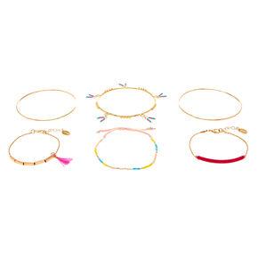 Gold Neon Summer Assorted Bracelets - 6 Pack,