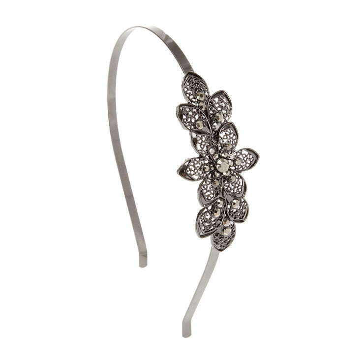 Hematite Filigree Flower Headband,