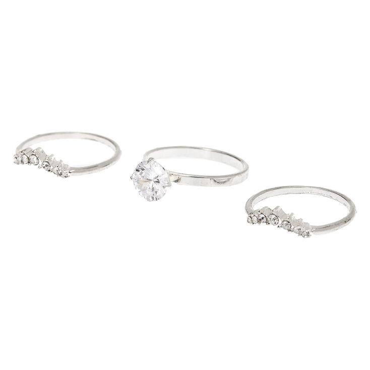 Silver Cubic Zirconia Engagement Rings - 3 Pack,