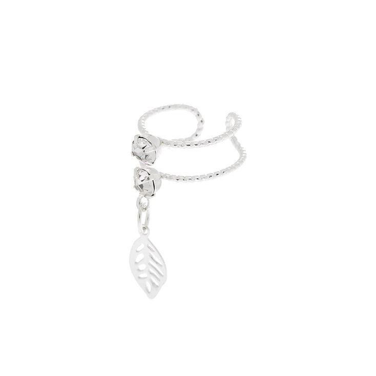 Silver Crystal Leaf Double Row Ear Cuff,