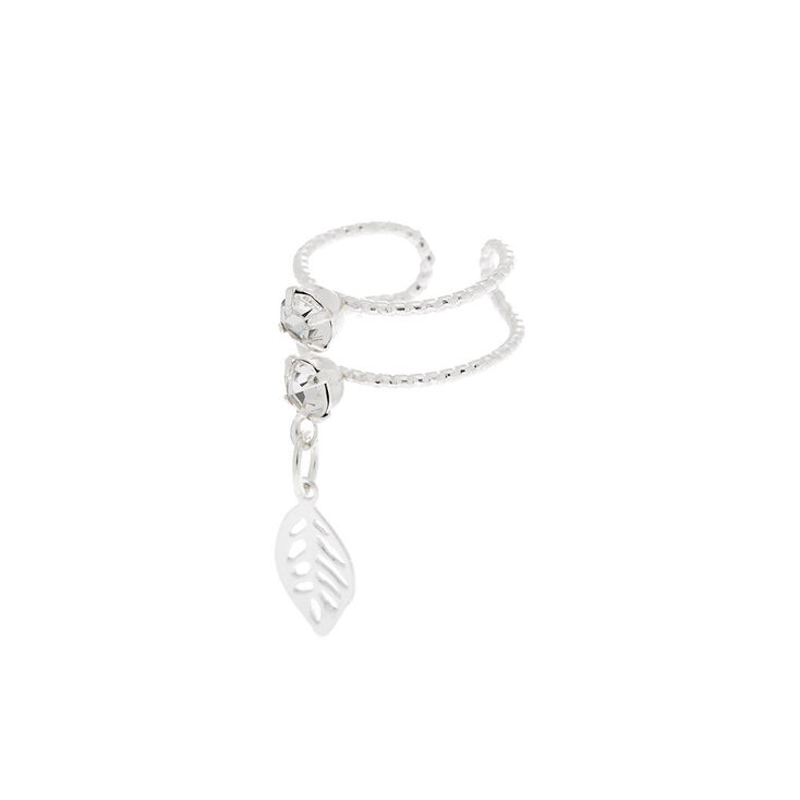 Silver Crystal Leaf Double Row Ear Cuff,