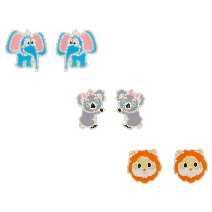 Sterling Silver Zoo Party Stud Earrings - 3 Pack,