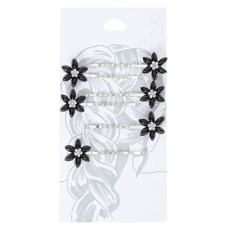 Black Flower Silver Tone Bobby Pins,