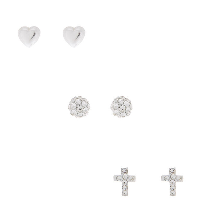 Sterling Silver Fireball Heart Stud Earrings - 3 Pack,