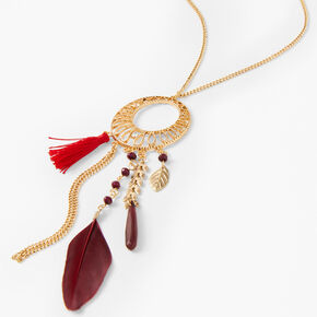 Gold Filigree Feather Long Crescent Pendant Necklace - Red,