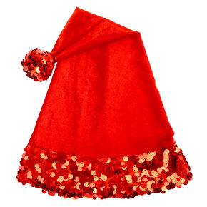 Velvet Sequin Santa Hat - Red,