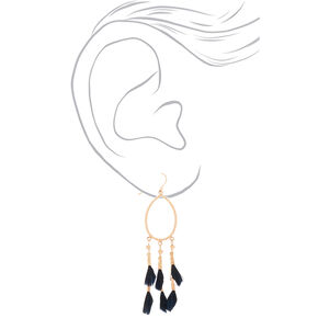 "Gold 3"" Oval Feather Drop Earrings - Black,"