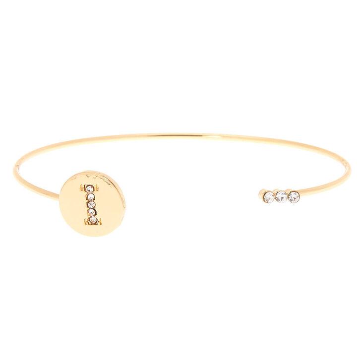 Gold Initial Cuff Bracelet - I,