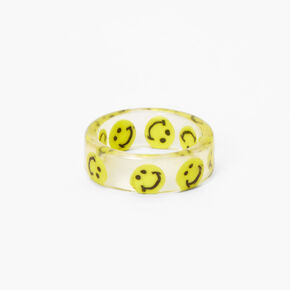 Clear Smiley Print Ring - Yellow,