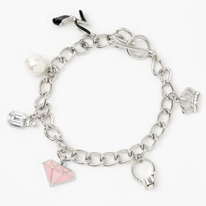 Silver Toggle Chain Link Charm Bracelet,