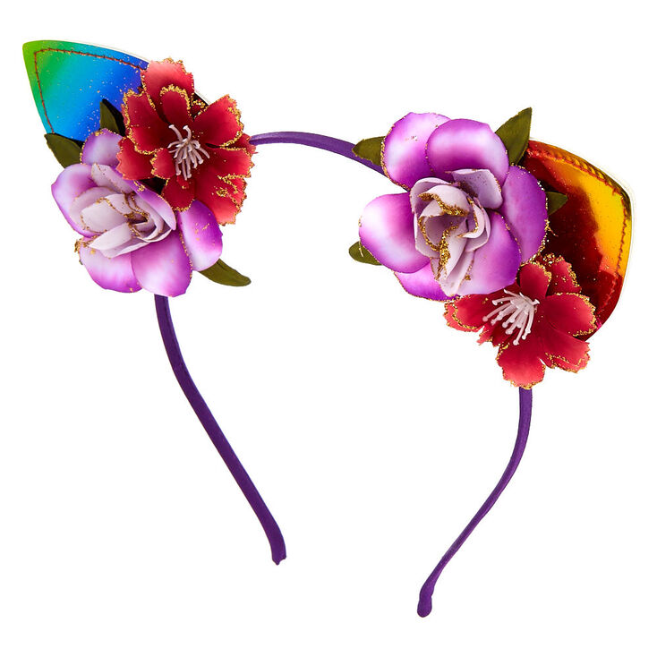 Rainbow Flower Car Ears Headband,