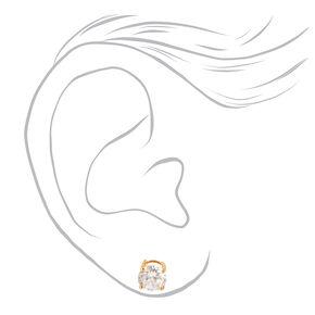 Gold Cubic Zirconia Round Basket Stud Earrings - 7MM,