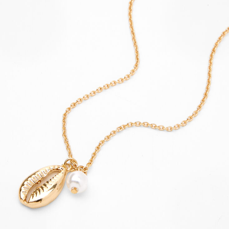 Gold Cowrie Shell Pearl Pendant Necklace,