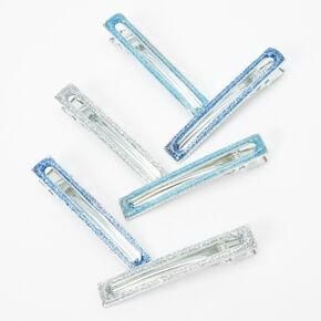 Glitter Rectangle Hair Clips - Blue, 6 Pack,
