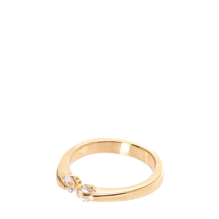Gold tone Cubic Zirconia  Open Cuff Midi Ring,