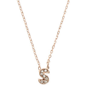 Rose Gold Embellished Initial Pendant Necklace - S,