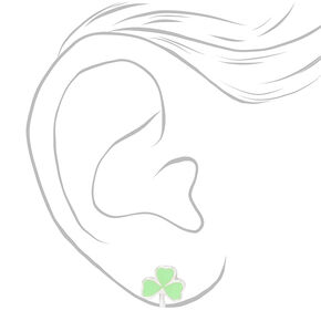 Silver Shamrock Stud Earrings - Green,