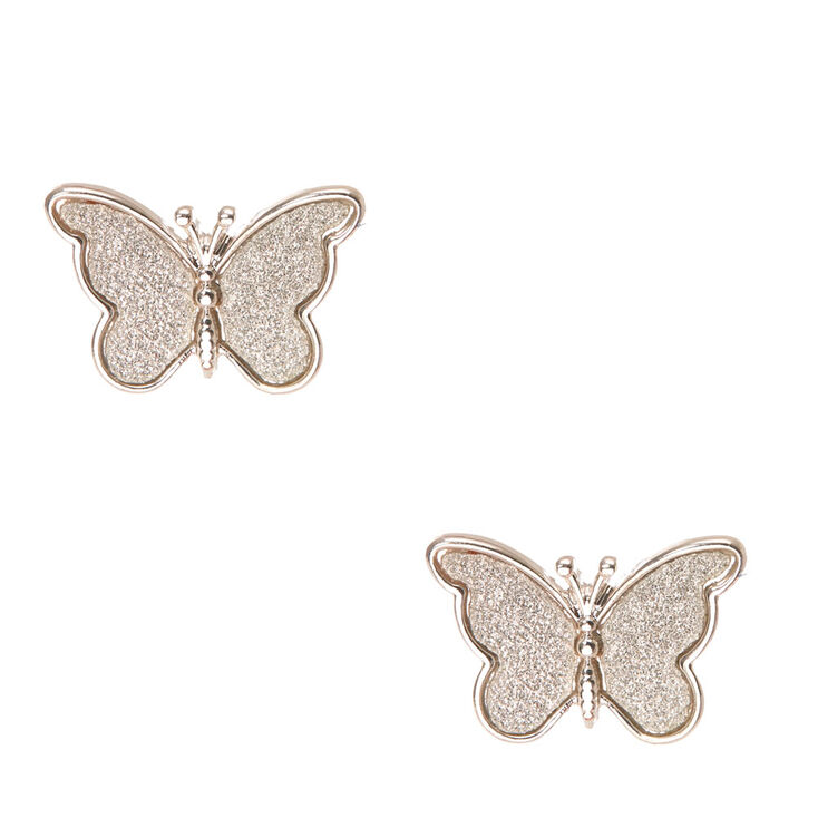Silver Tone Glitter Butterfly Stud Earrings,