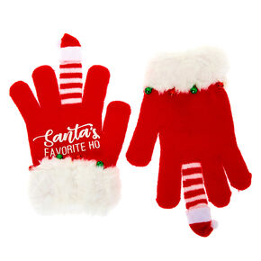 Santa's Favorite Ho Gloves - Red,