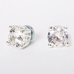 Silver Cubic Zirconia Round Magnetic Stud Earrings - 5MM,