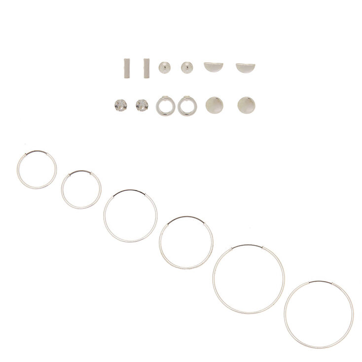 Silver Geometric Mixed Stud & Hoop Earrings - 9 Pack,
