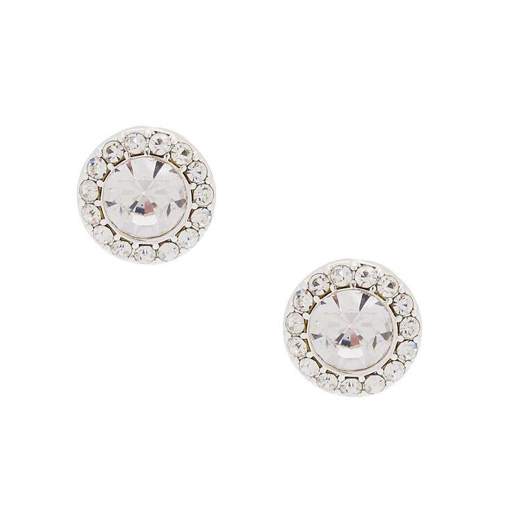 Silver Crystal Stud Earrings,